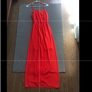 Coral-colored maxi dress—Monteau sized S